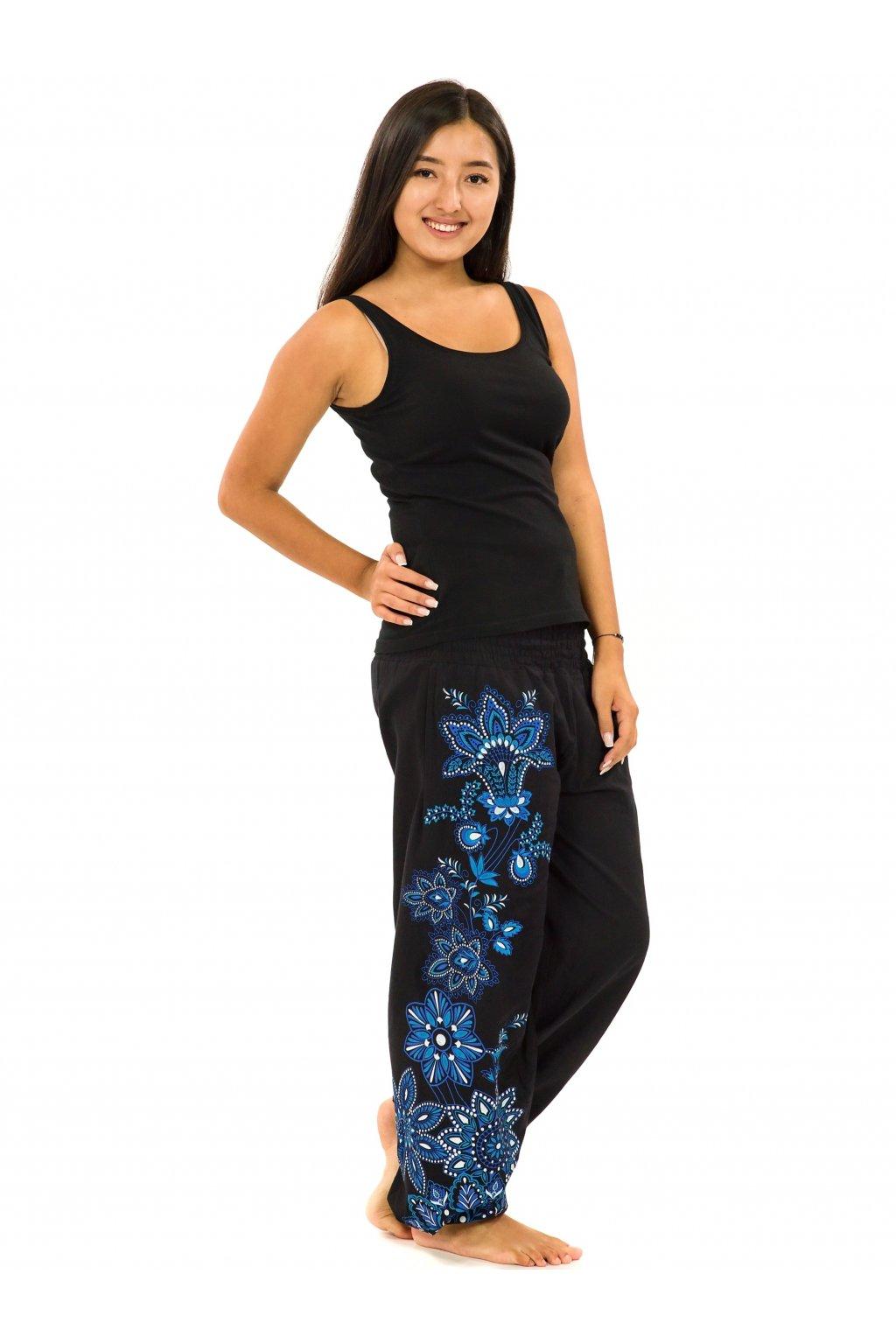 Kalhoty Tahira - černá s modrou a bílou