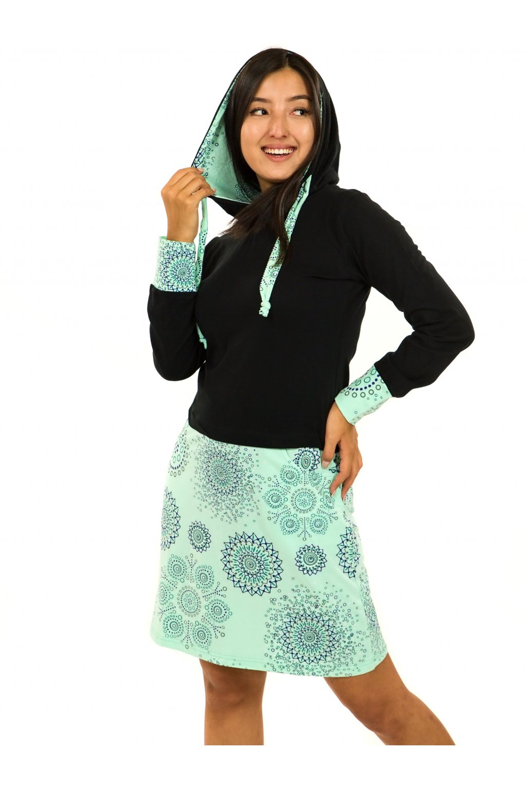 Šaty s kapucí Asma - černá s mintovou