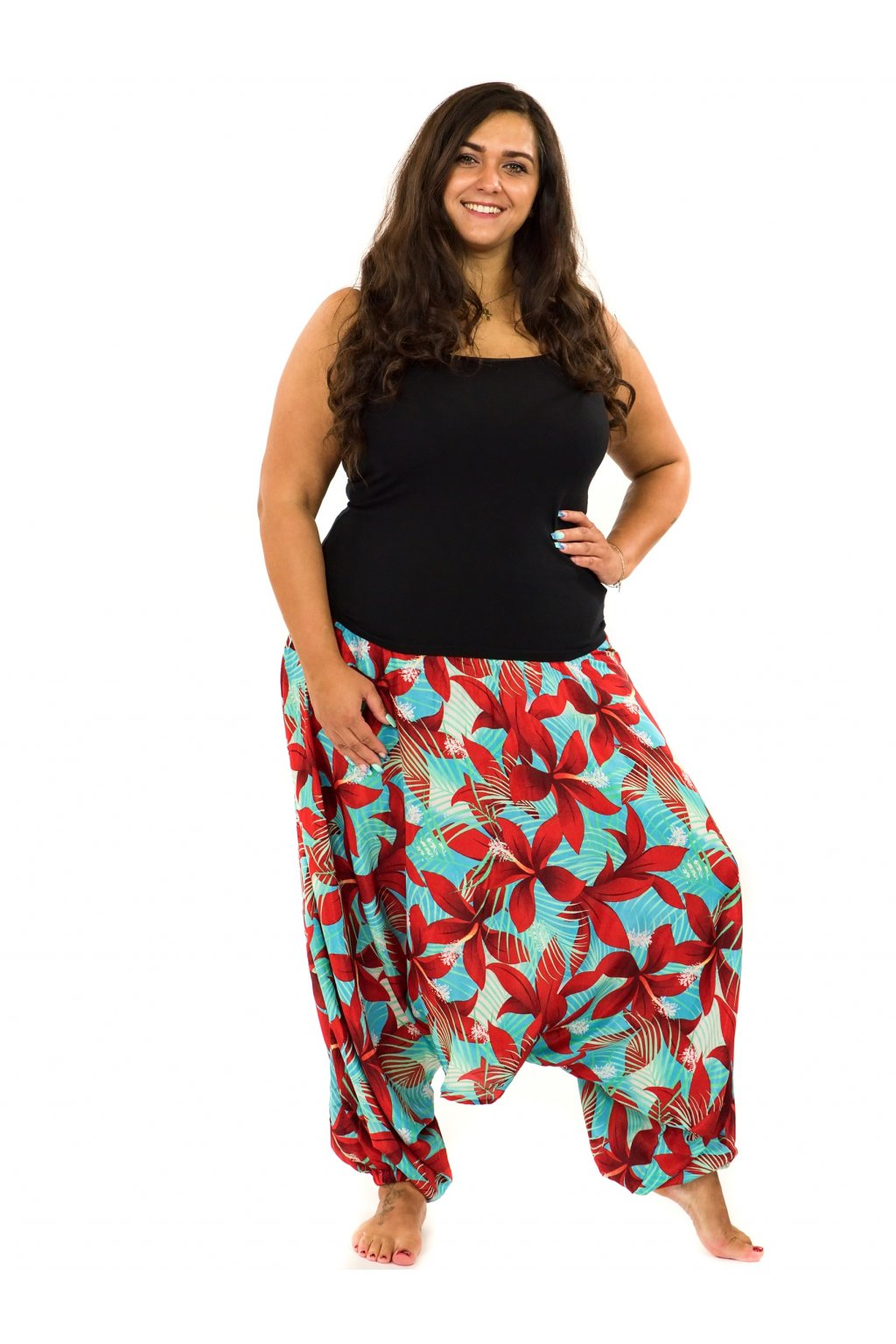 Kalhoty-šaty-top 3v1 Ibišek - tyrkysová s červenou