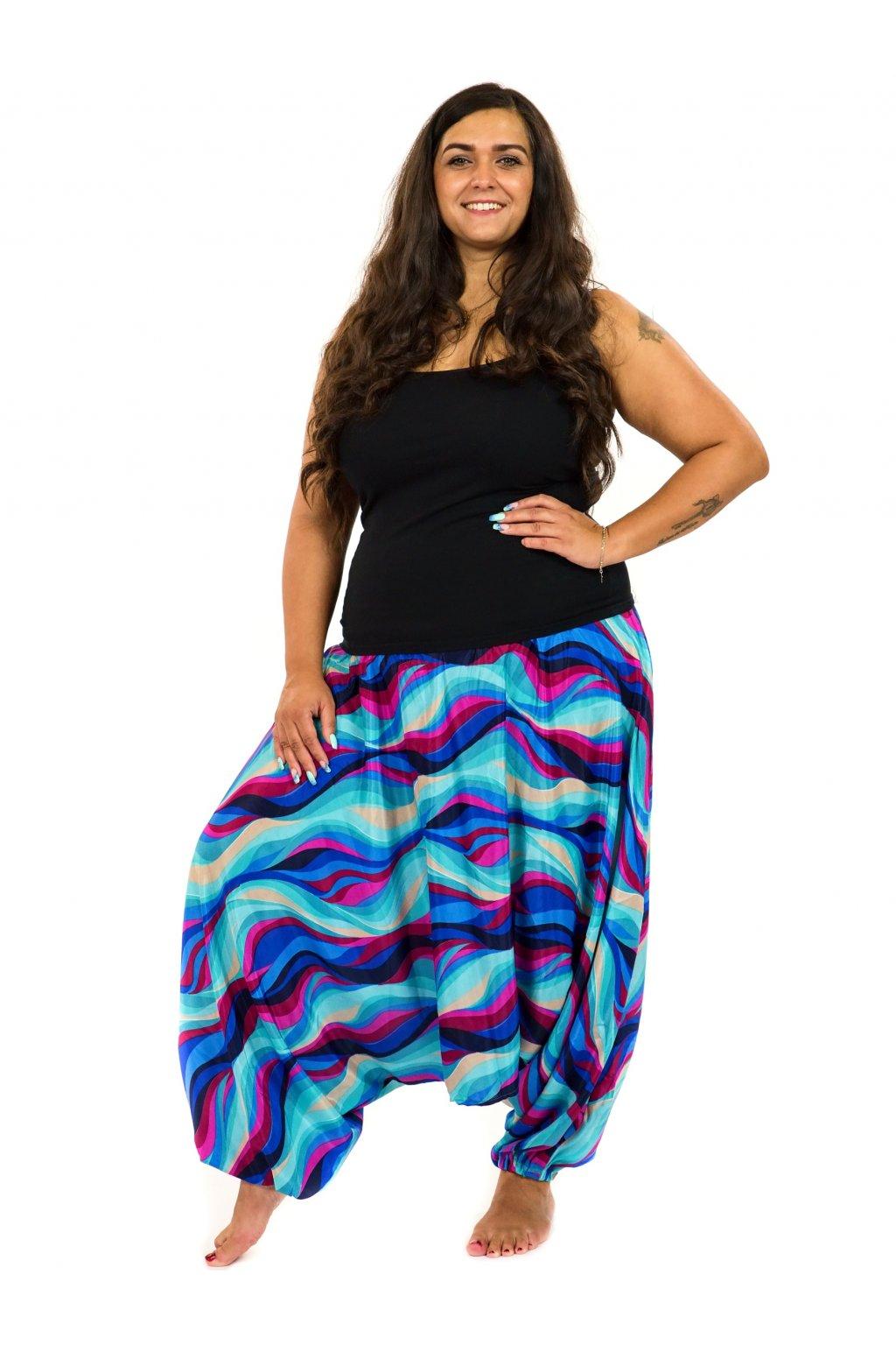 Kalhoty-šaty-top 3v1 Vlny - tyrkysová s růžovou