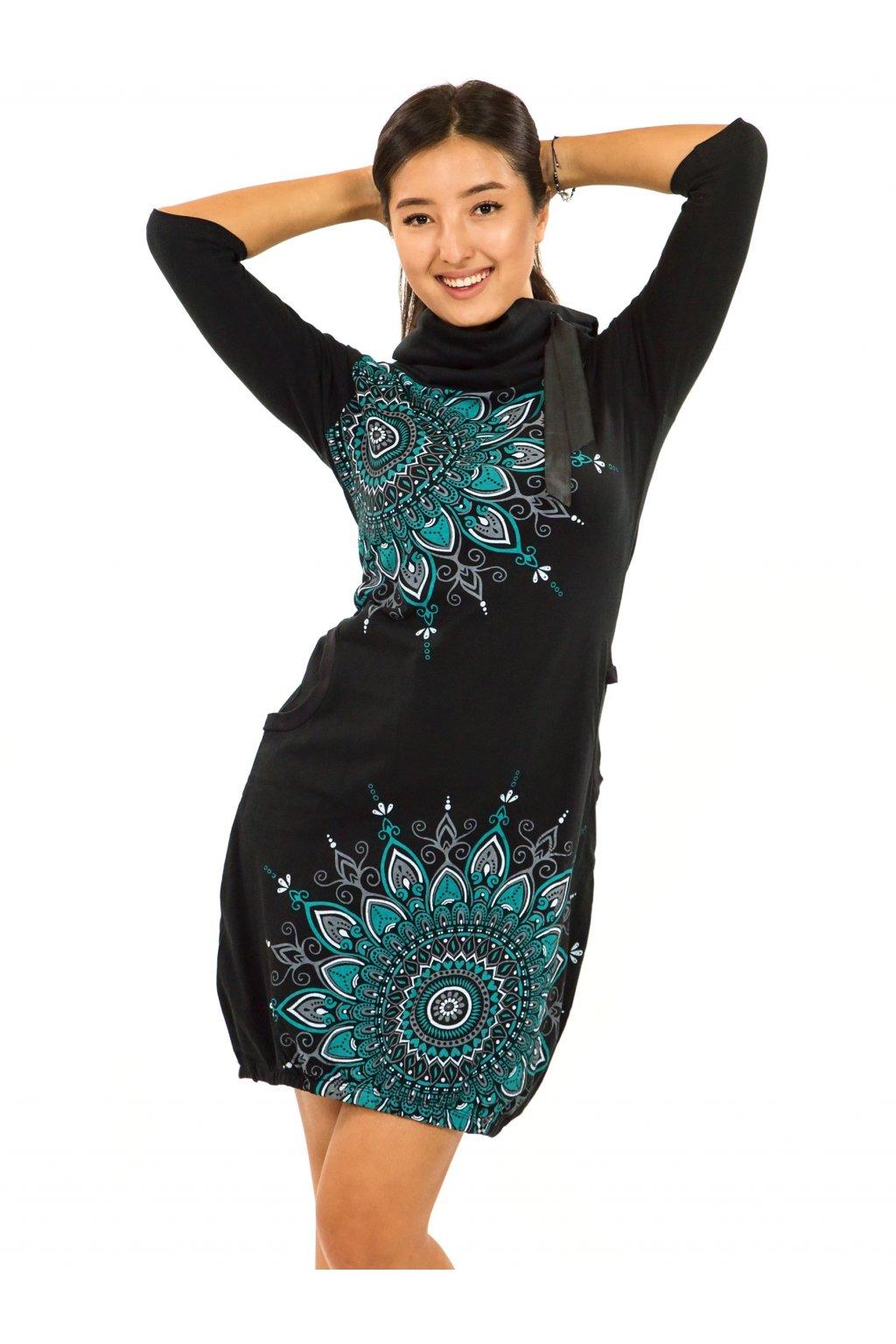 Balonové šaty s límcem Tara - černá s tyrkysovou