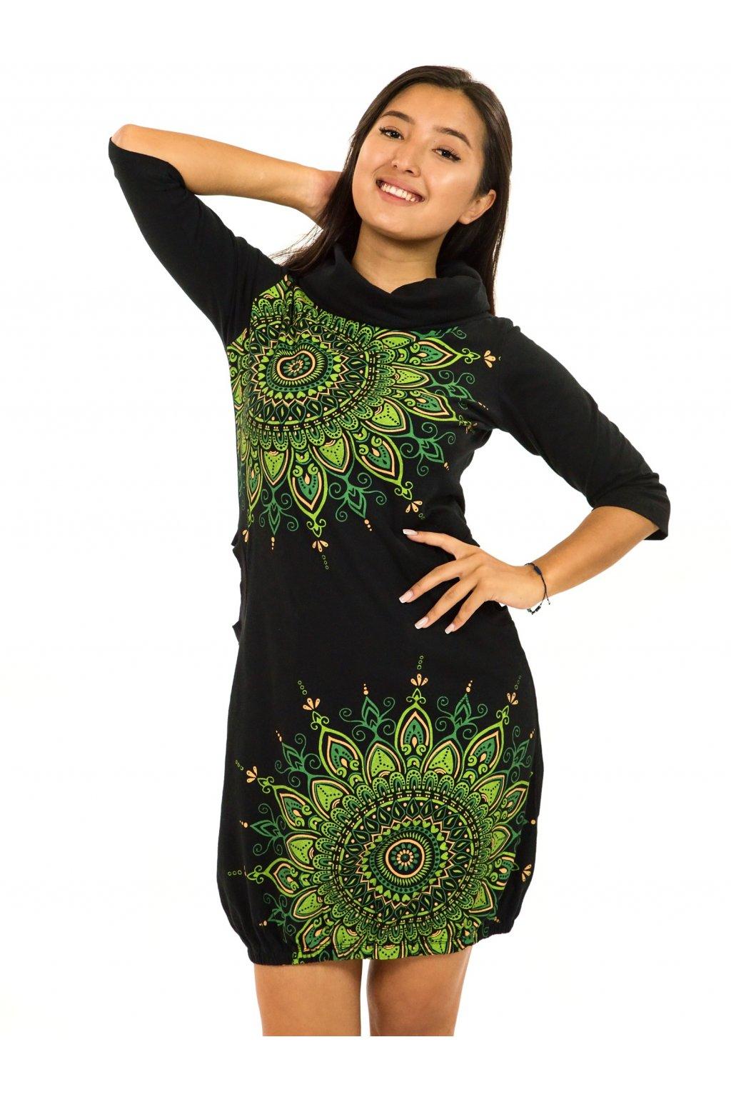 Balonové šaty s límcem Tara - černá s limetkovou