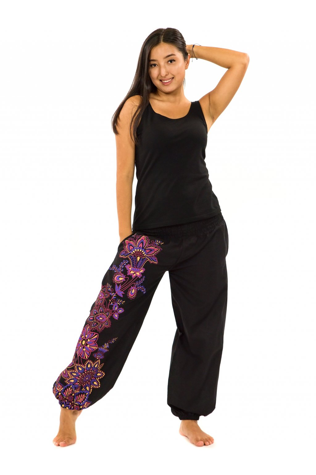 Kalhoty Tahira - černá s růžovou