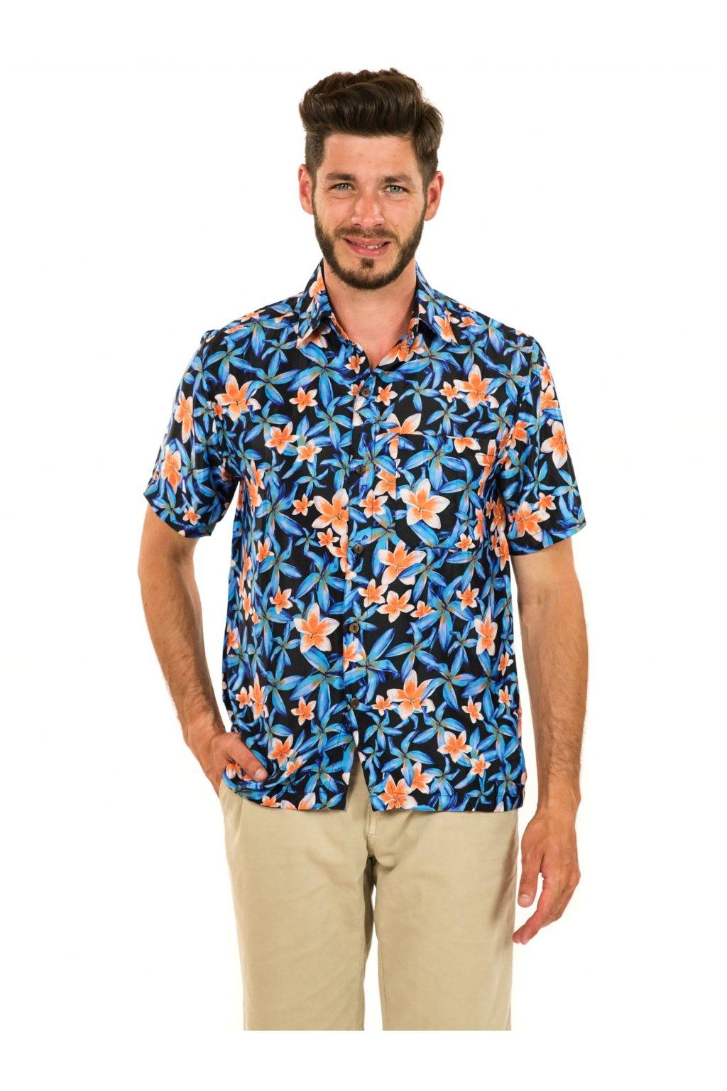 Pánská košile Plumeria - tyrkysová s oranžovou