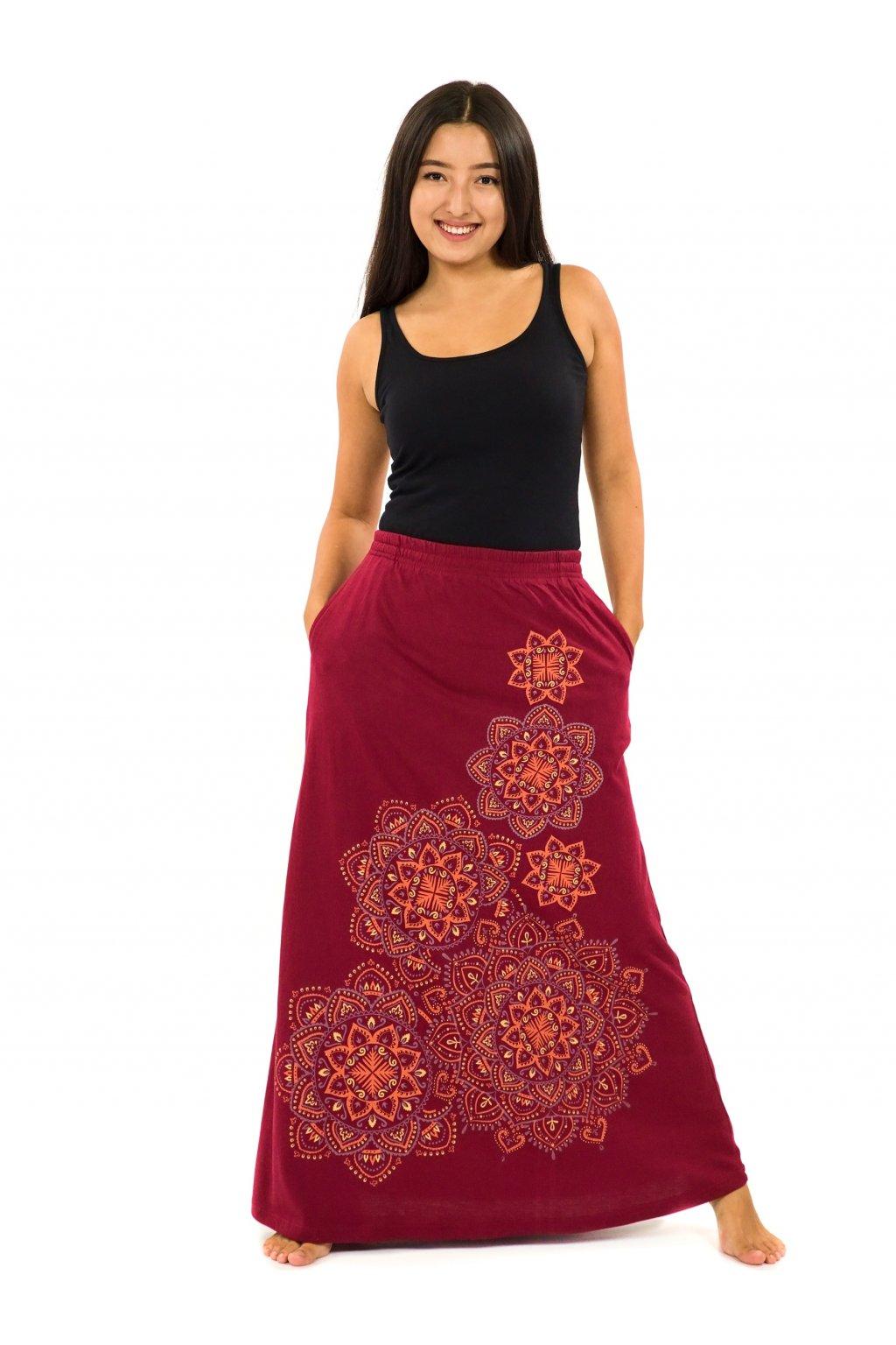 Dlouhá sukně Khana - vínová