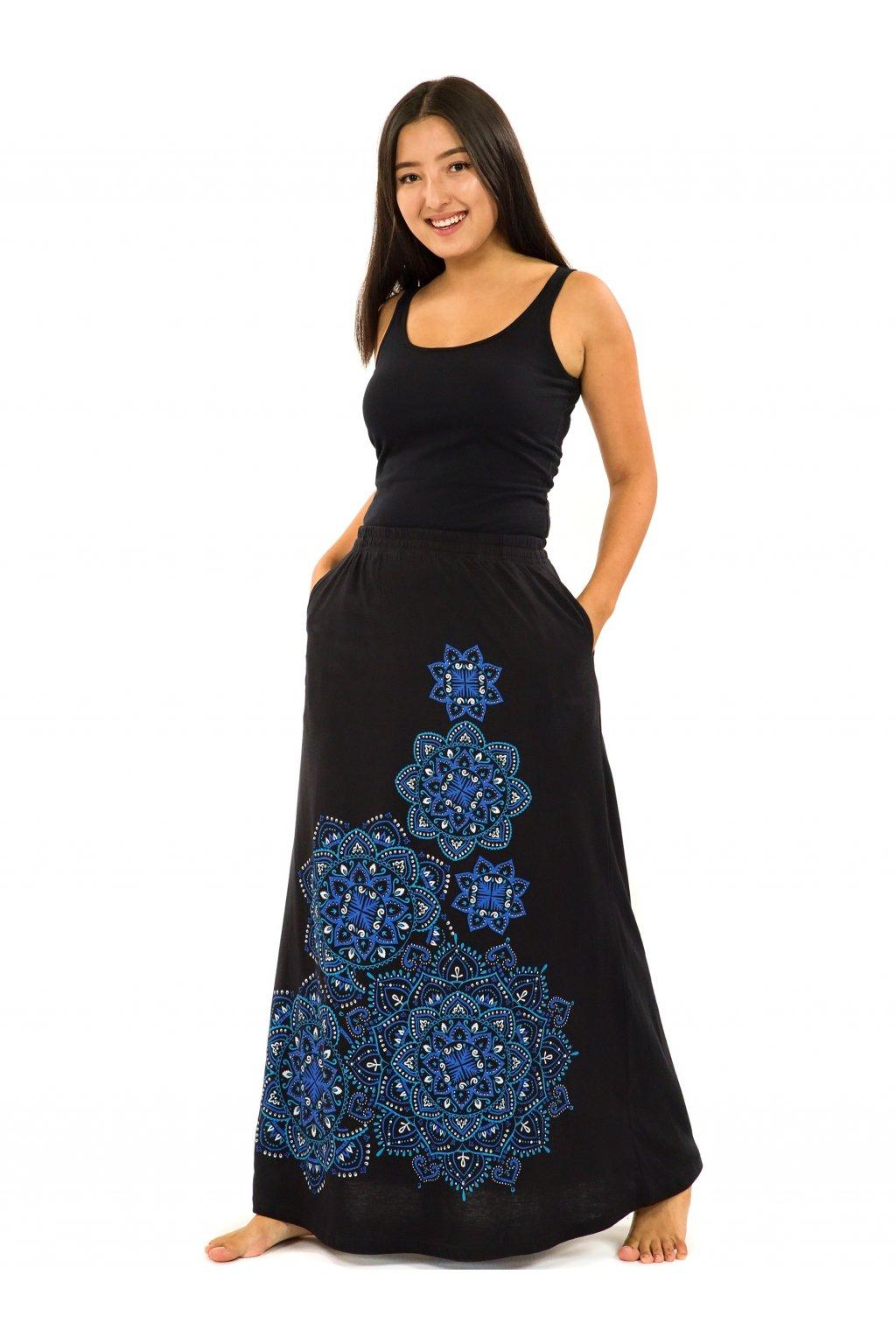 Dlouhá sukně Khana - černá s modrou
