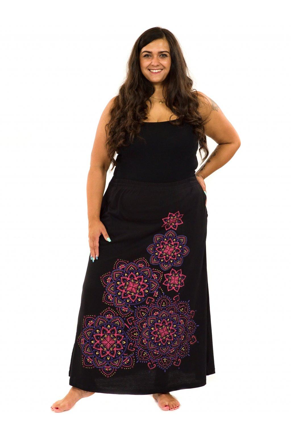 Dlouhá sukně Khana - černá s růžovou