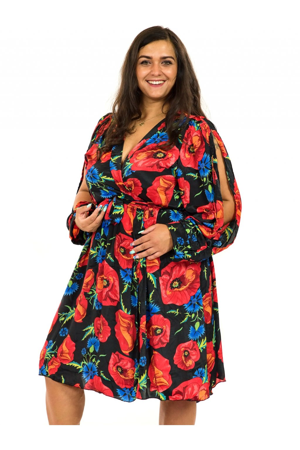 Zavinovací šaty Vlčí mák - černá s červenou