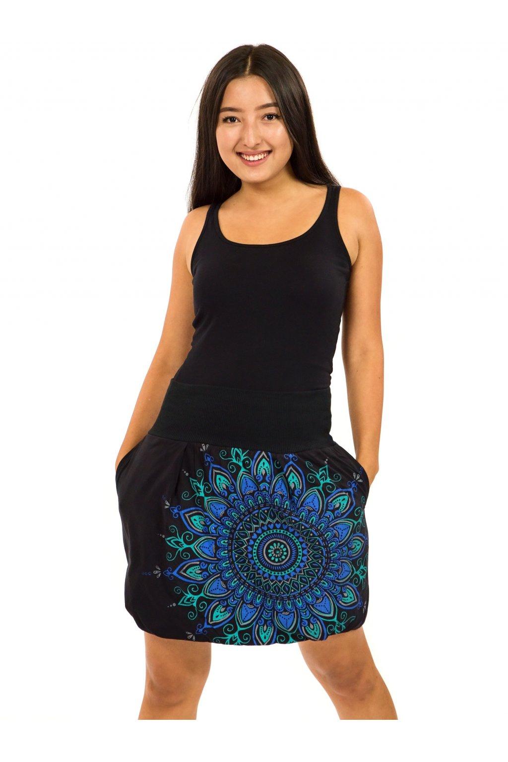 Balonová sukně Mokulea - černá s tyrkysovou a modrou