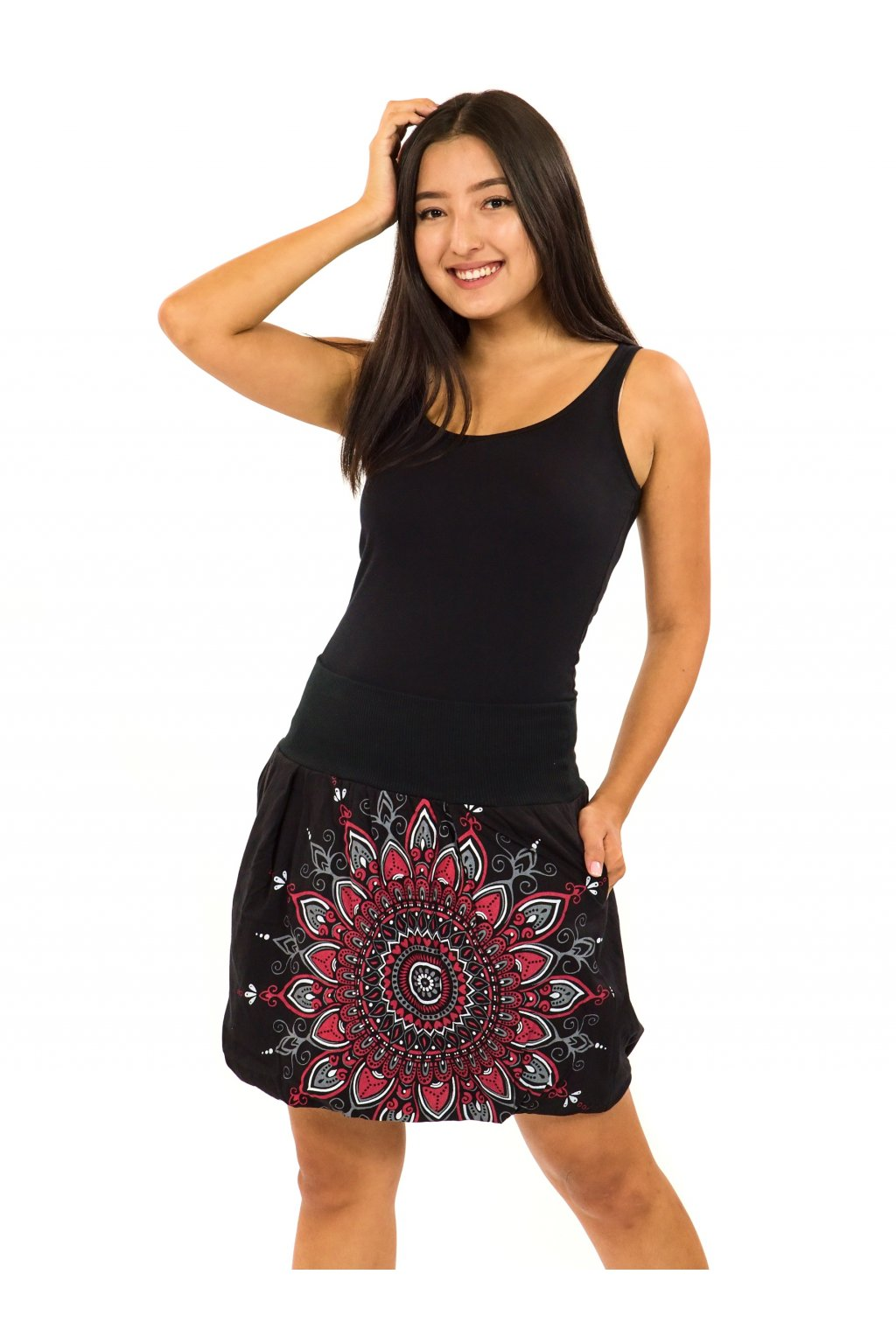 Balonová sukně Mokulea - černá s červenou