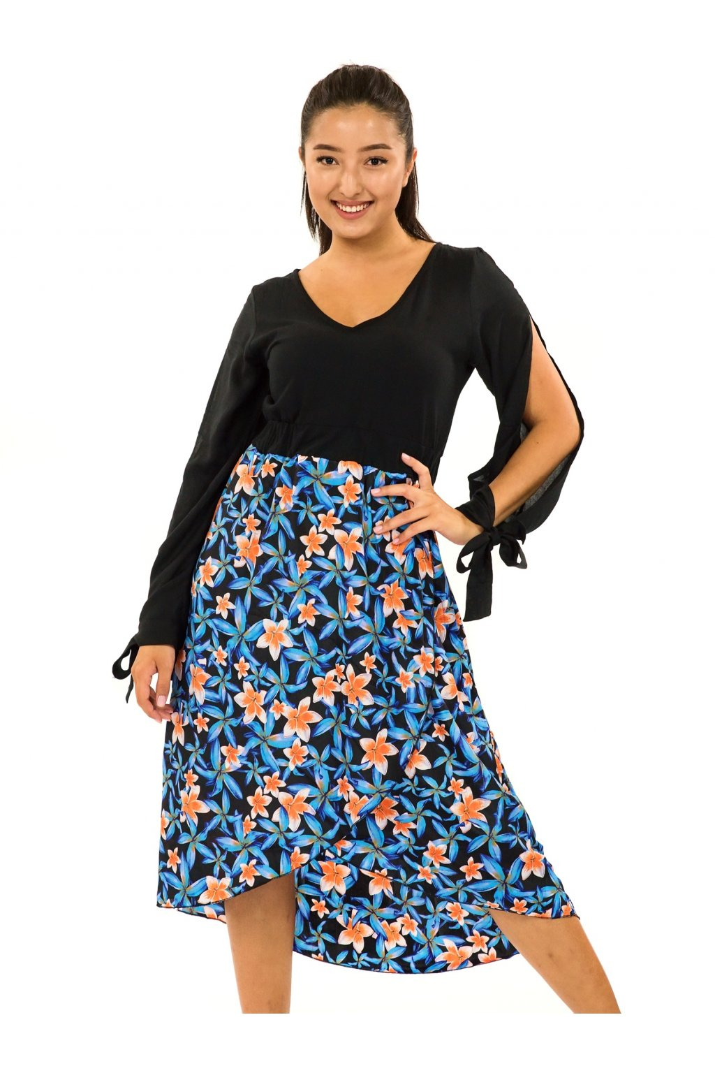 Midi šaty Plumeria - tyrkysová s oranžovou