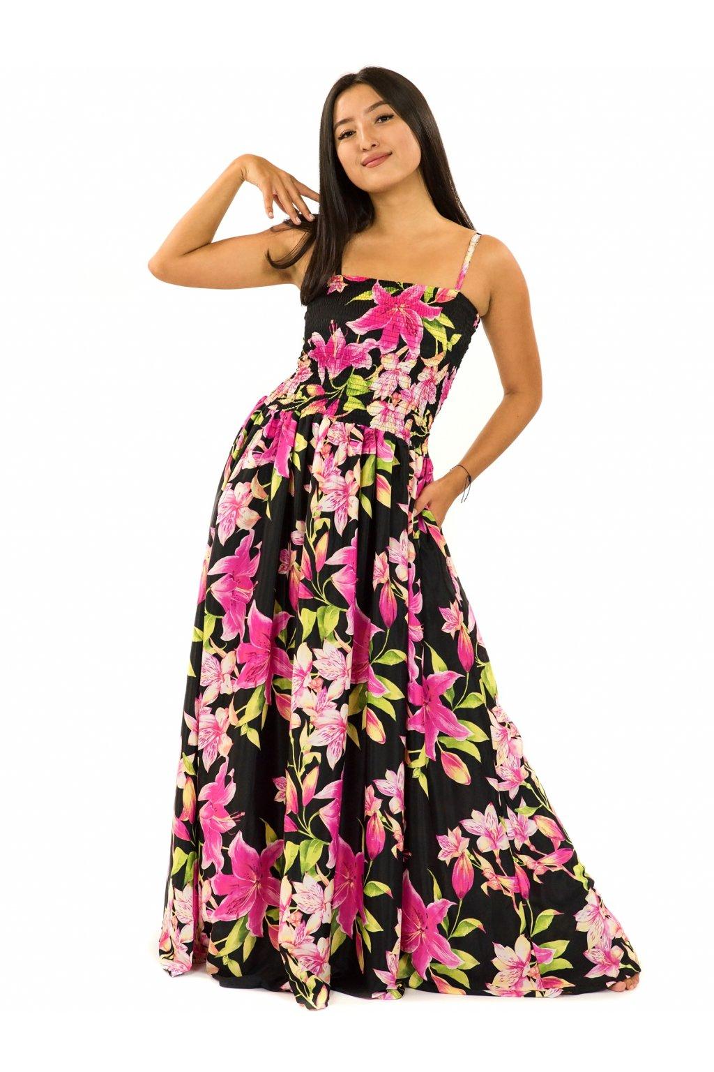 Dlouhé šaty s kapsami Lilie - černá s růžovou