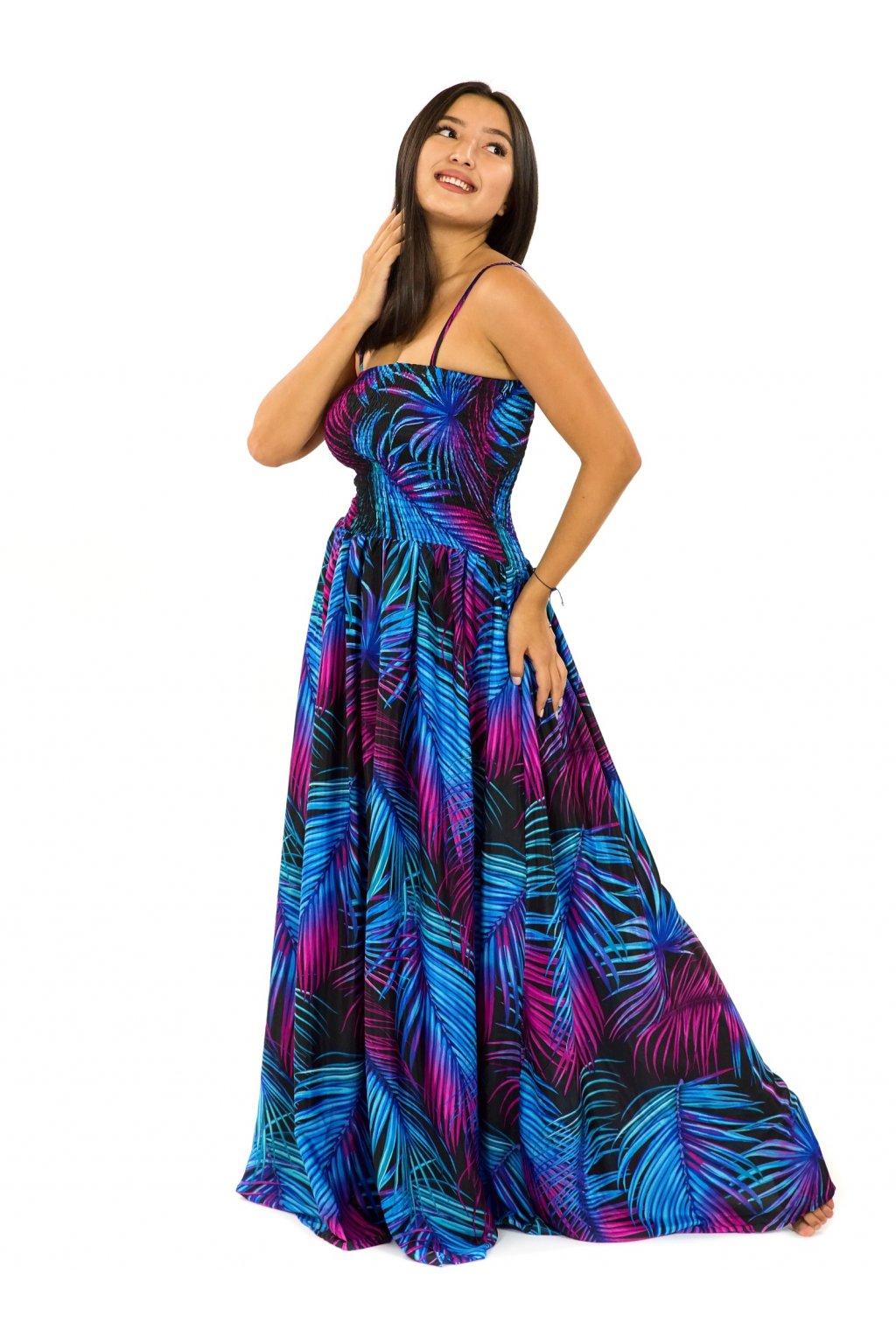 Dlouhé šaty s kapsami Listy - tyrkysová s fialovou