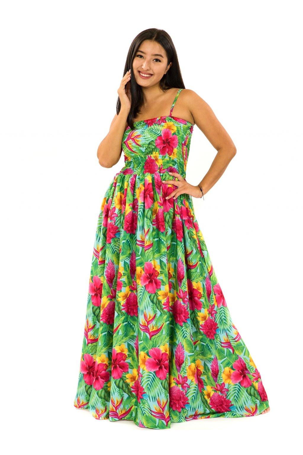 Dlouhé šaty s kapsami Launa - tyrkysová s barvami