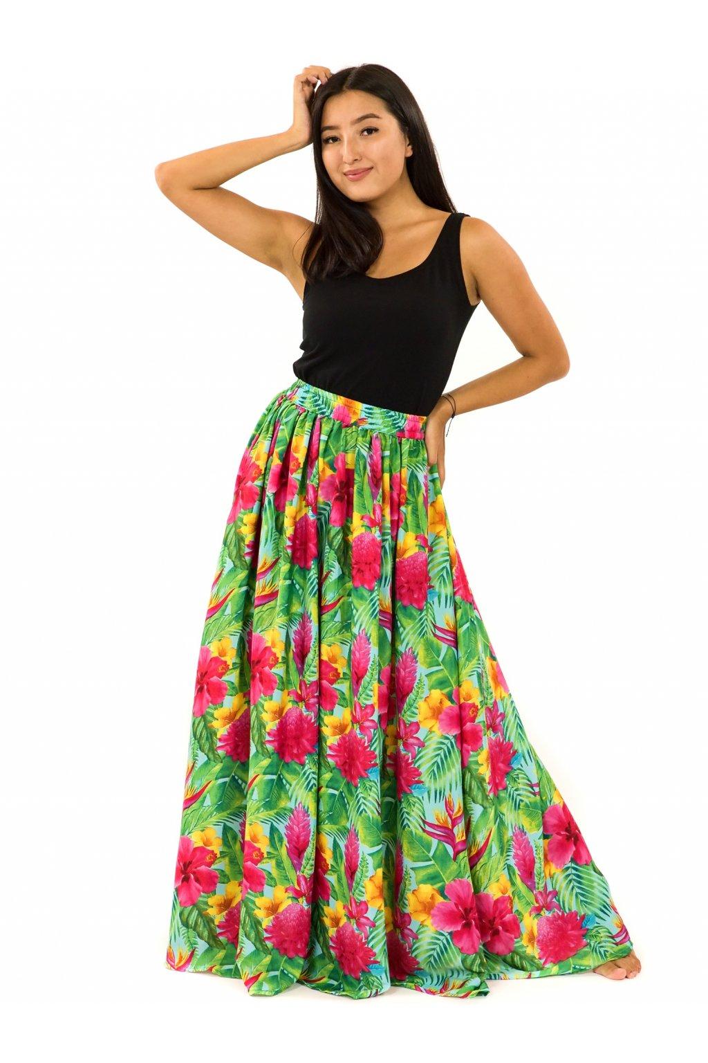 Maxi sukně s kapsami Launa - tyrkysová s barvami