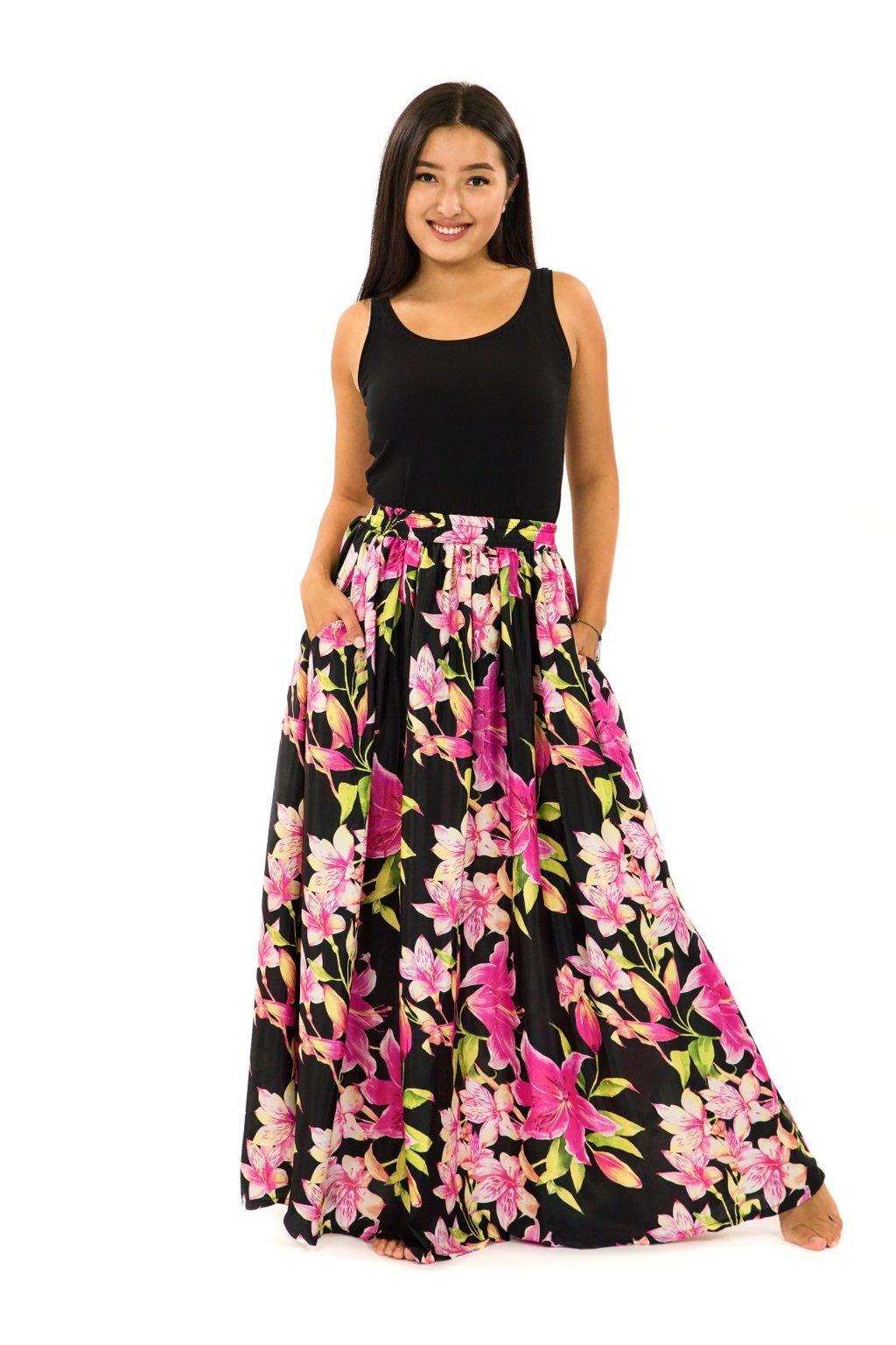 Maxi sukně s kapsami Lilie - černá s růžovou