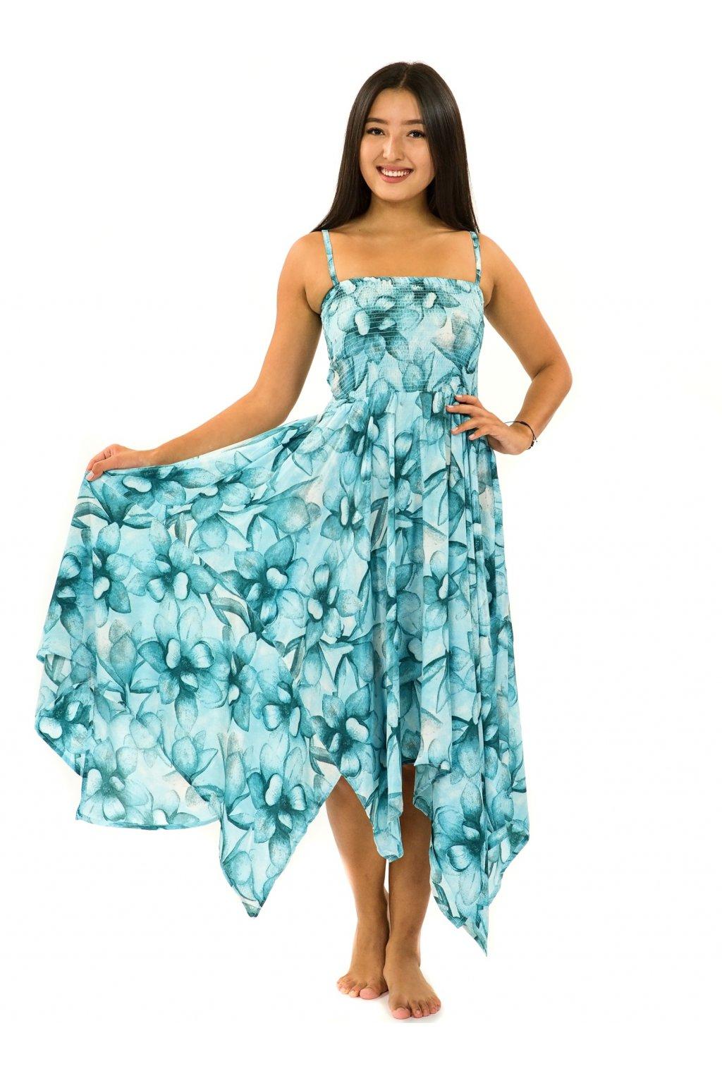 Šaty-sukně 2v1 Dawa Nala -tyrkysová s bílou