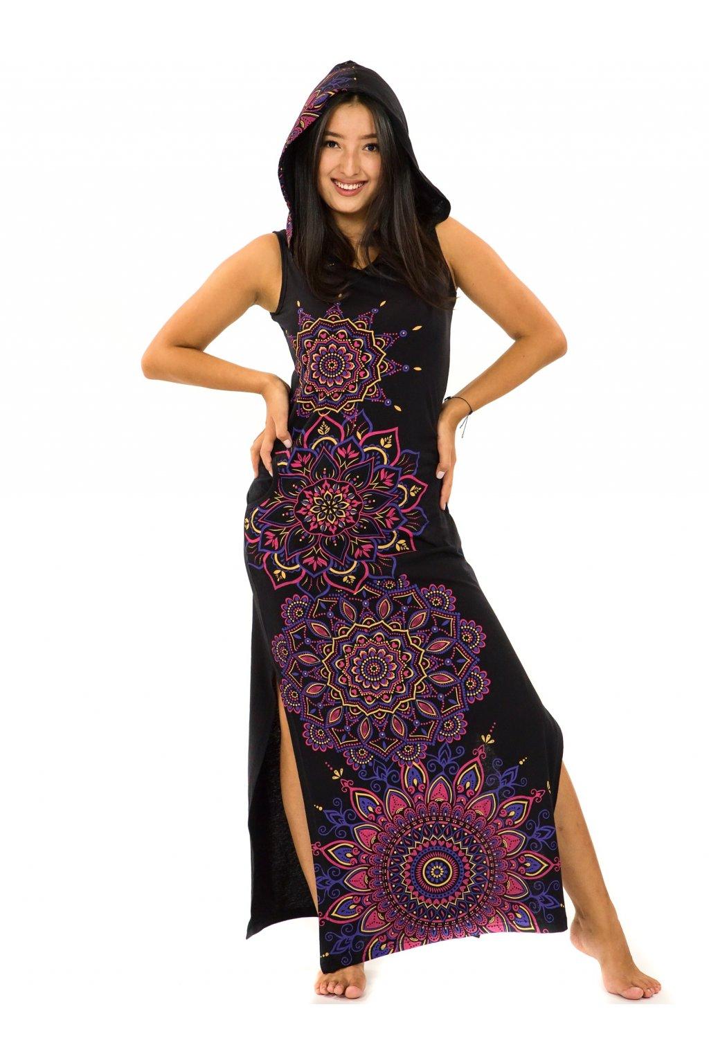 Dlouhé šaty s kapucí Hanalei - černá s růžovou
