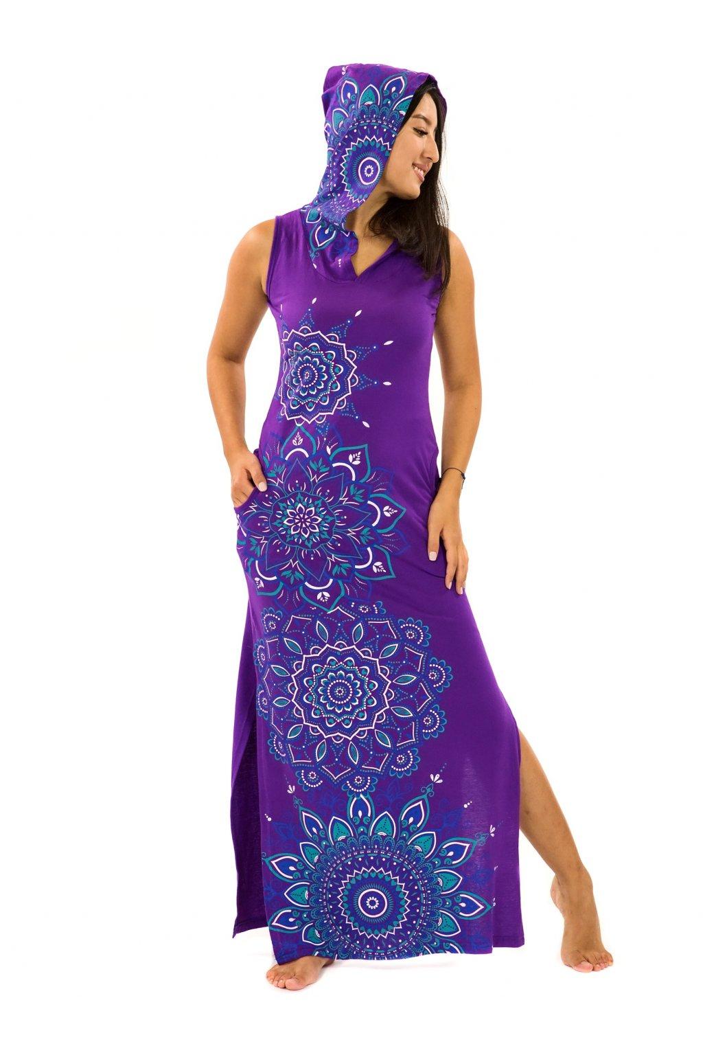 Dlouhé šaty s kapucí Hanalei - fialová