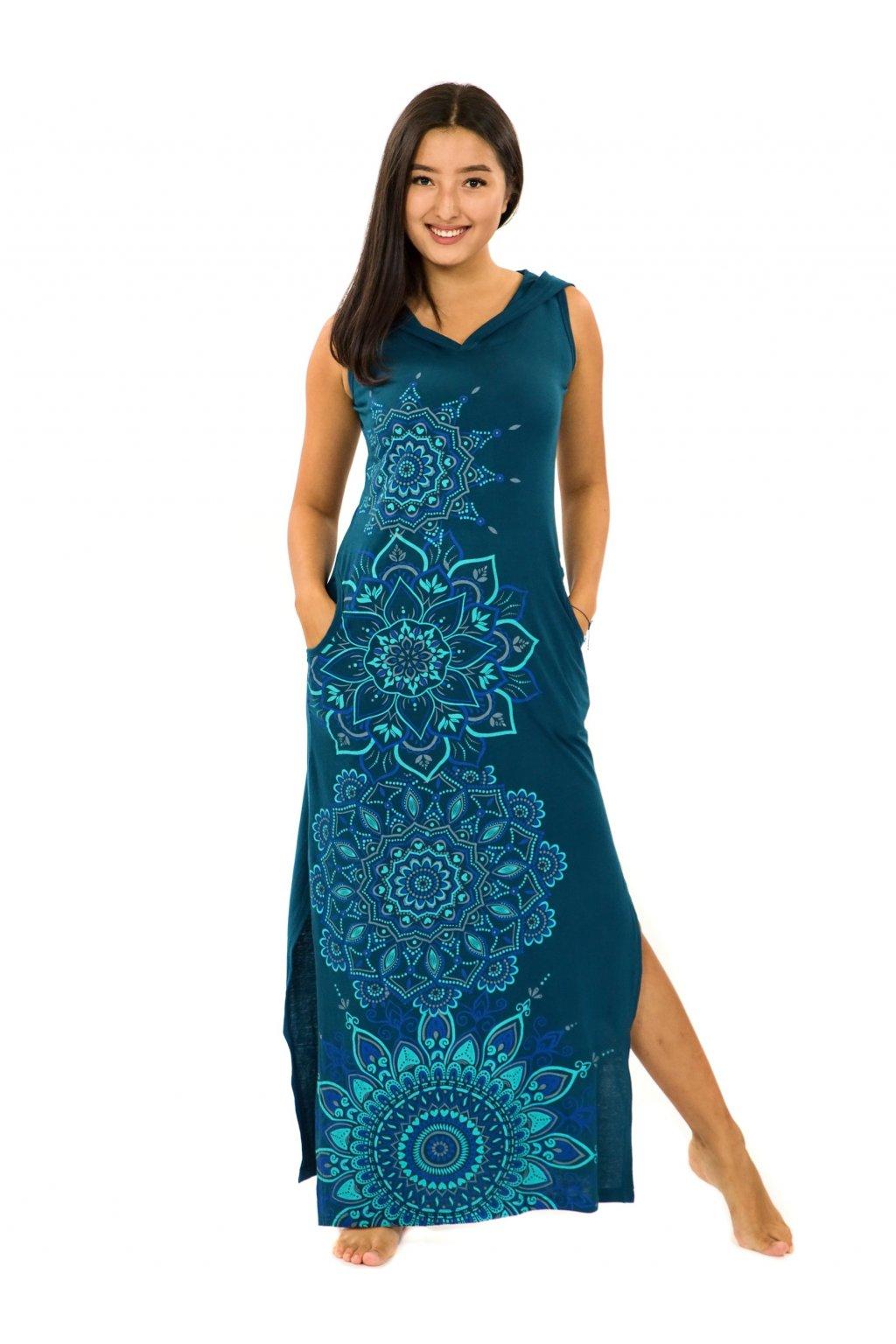 Dlouhé šaty s kapucí Hanalei - petrolejová