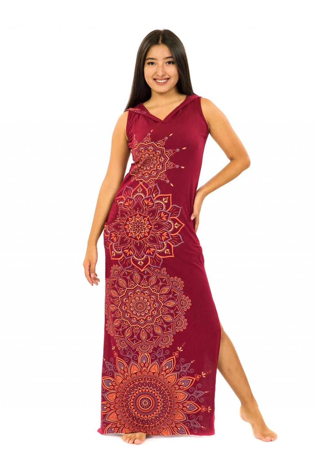 Dlouhé šaty s kapucí Hanalei - vínová