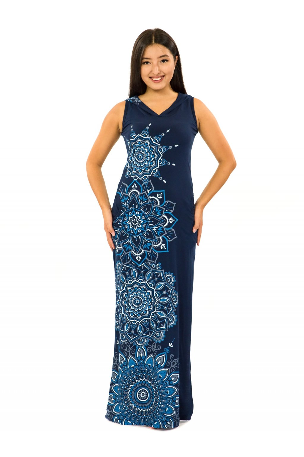 Dlouhé šaty s kapucí Hanalei - modrá