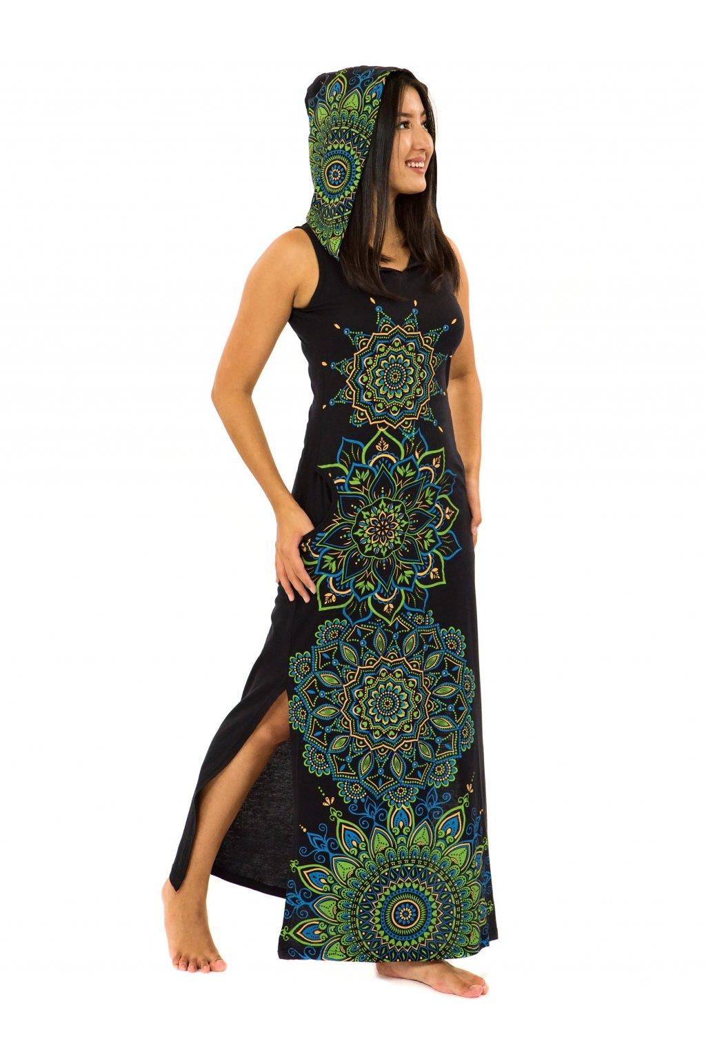 Dlouhé šaty s kapucí Hanalei - černá se zelenou