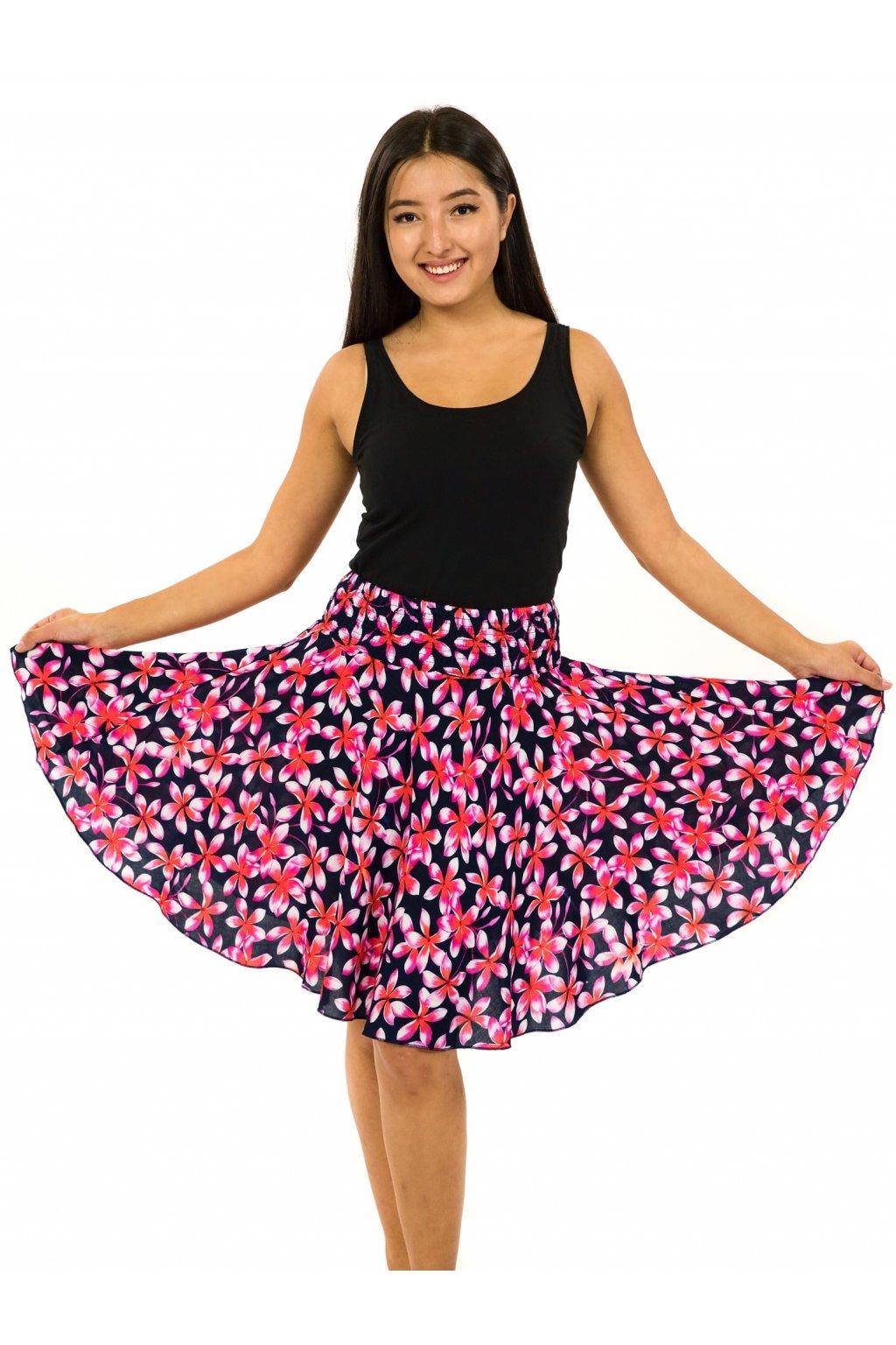 Kolová sukně Plumeria - černá