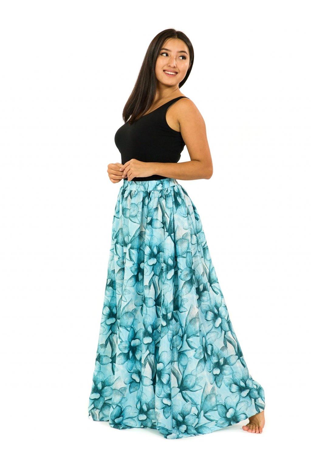 Maxi sukně s kapsami Nala -tyrkysová s bílou