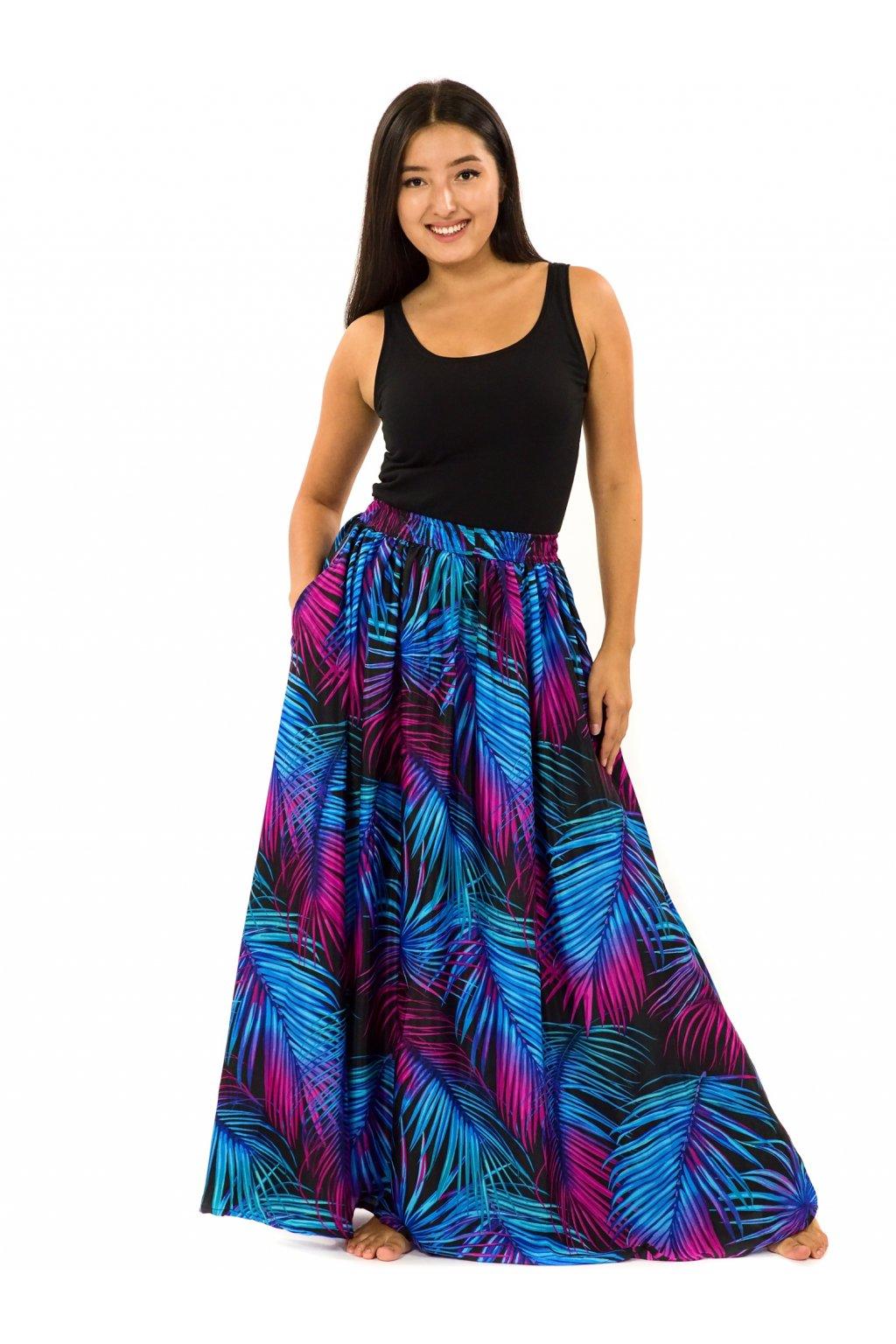 Maxi sukně s kapsami Listy - tyrkysová s fialovou