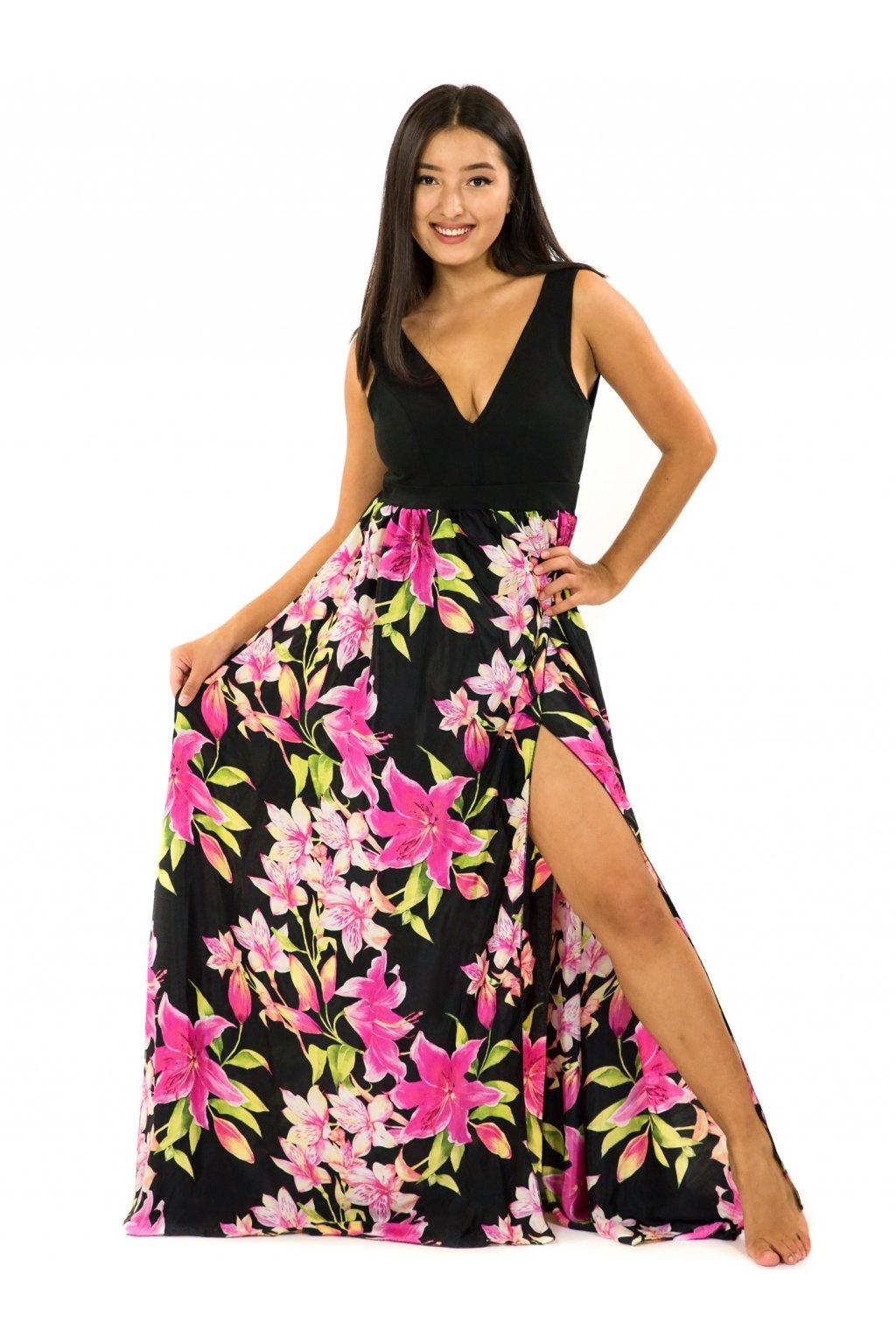 Dlouhé maxi šaty Lilie - černá s růžovou