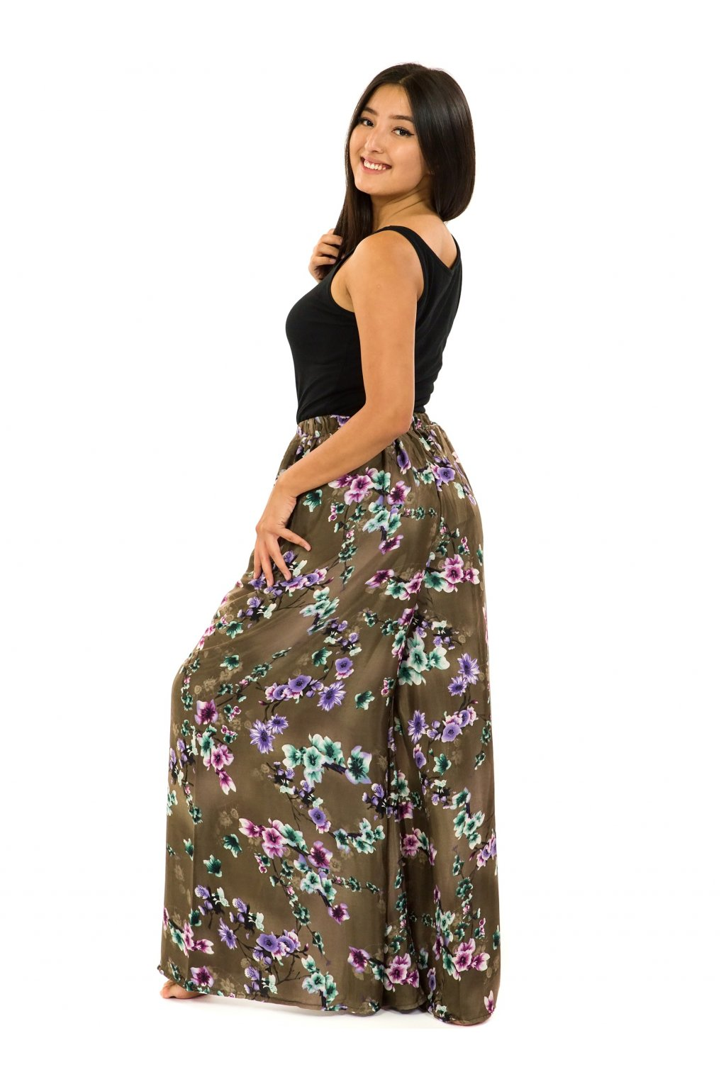 Kalhotová sukně Soha - hnědá