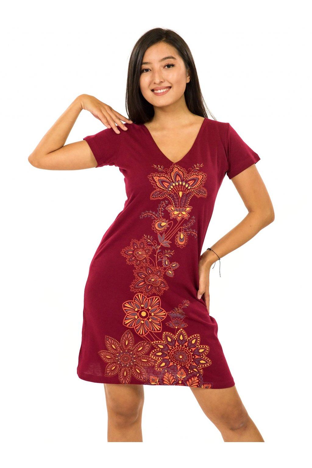 Šaty s krátkým rukávem Rori - vínová