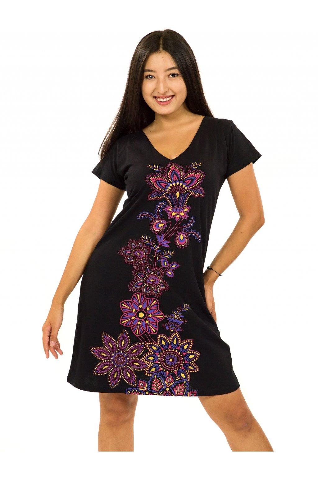 Šaty s krátkým rukávem Rori - černá s růžovou
