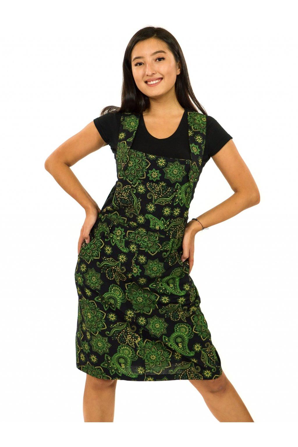 Laclové šaty Pemba - černá se zelenou