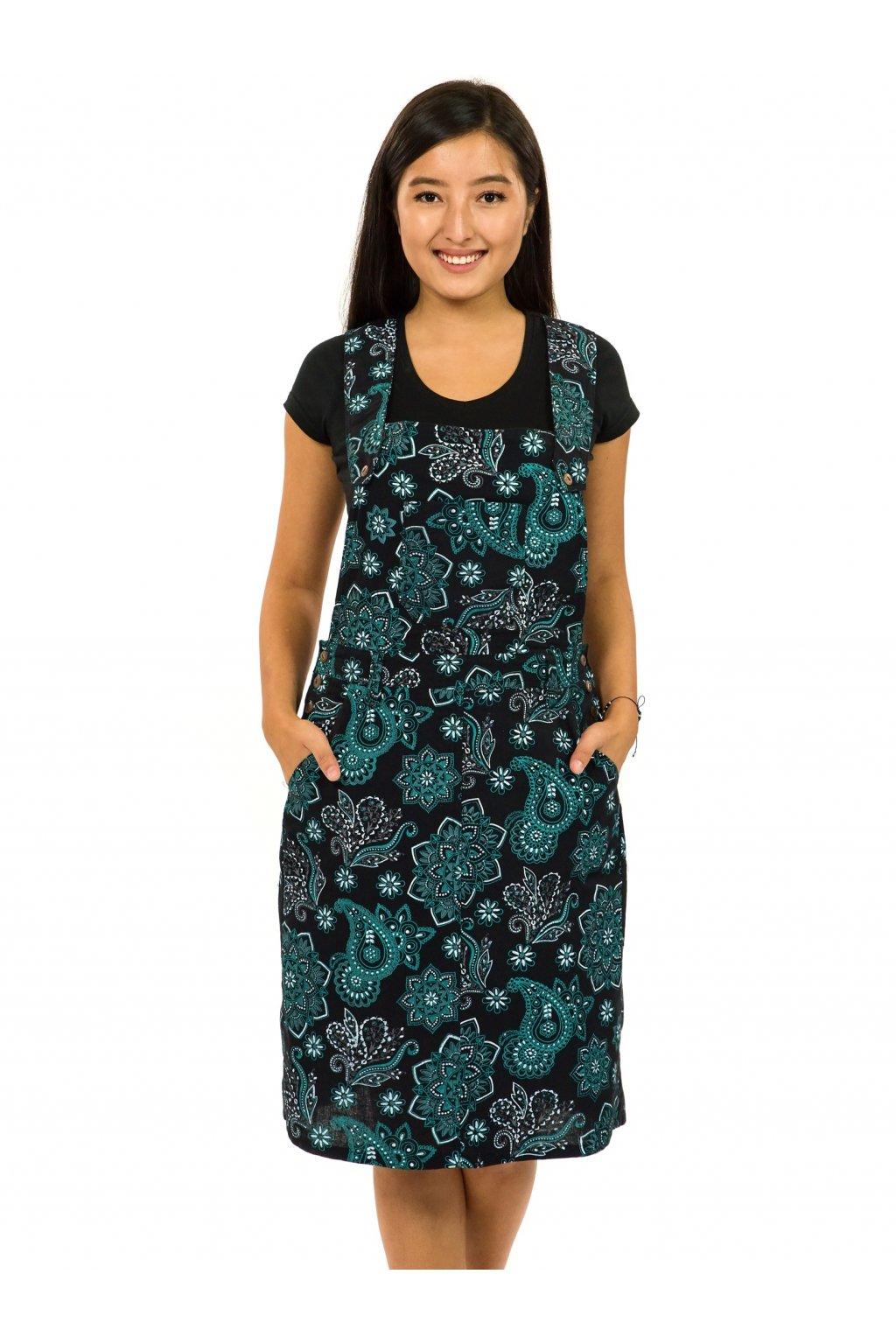 Laclové šaty Pemba - černá s tyrkysovou