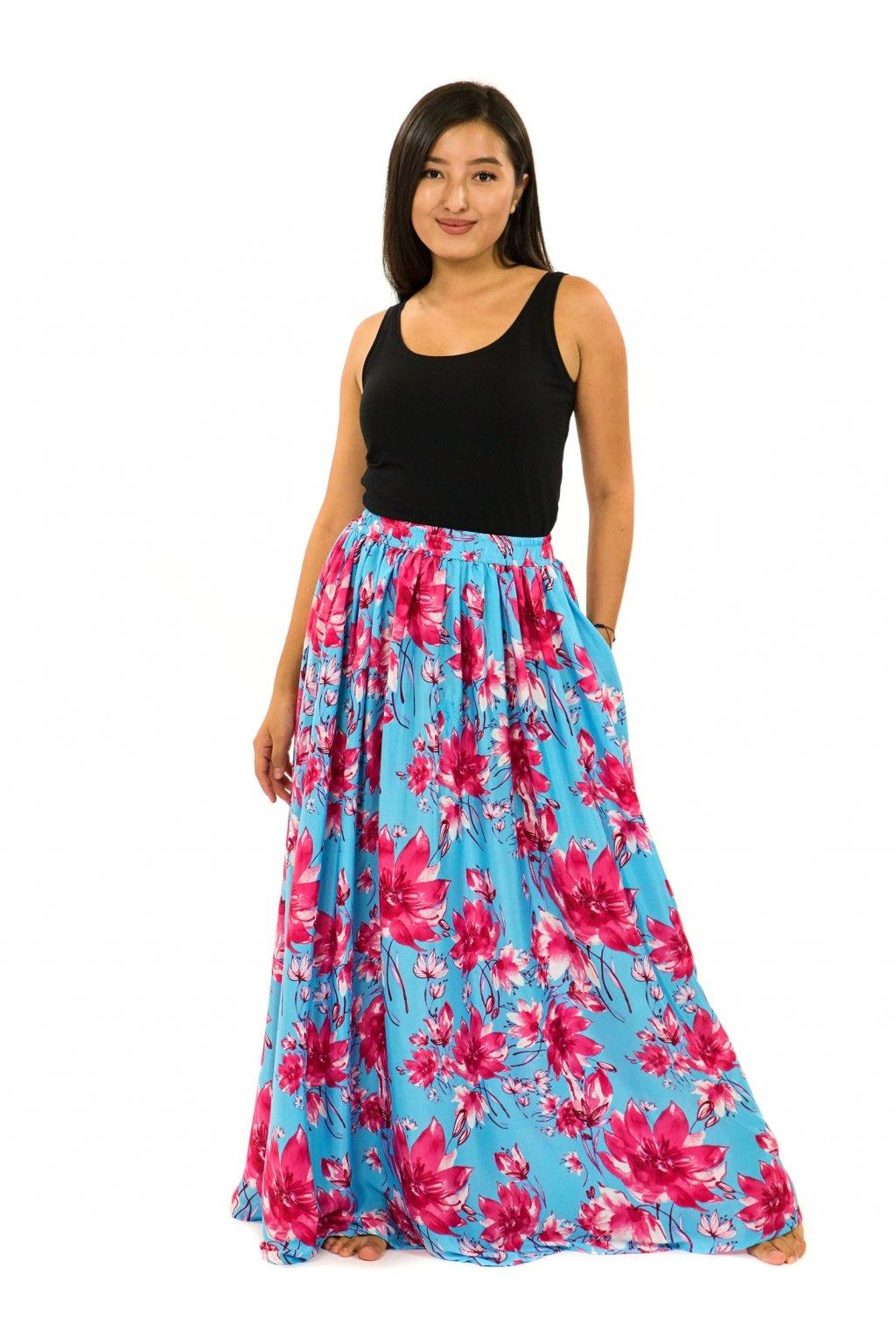 Maxi sukně s kapsami Kora - tyrkysová s růžovou