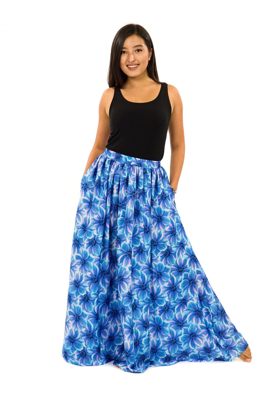Maxi sukně s kapsami Shira - tyrkysová