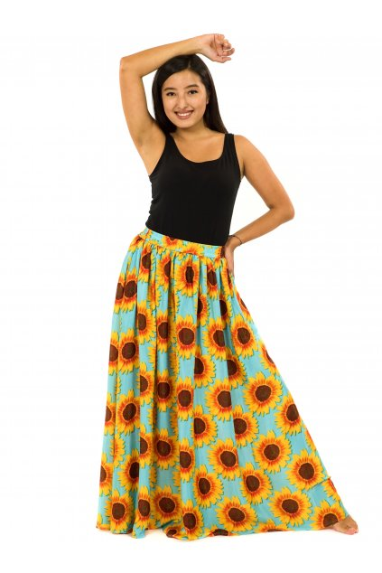 Maxi sukně s kapsami Slunečnice - tyrkysová se žlutou