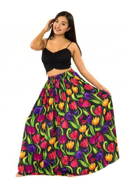 Maxi sukně s kapsami Tulipány - černá s barvami