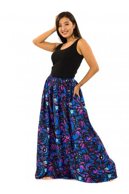 Maxi sukně s kapsami Keira - černá s růžovou a modrou