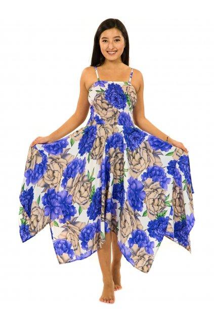 Šaty-sukně 2v1 Dawa Pivoňka - bílá s fialovou