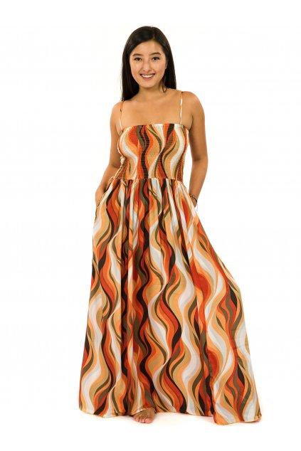 Dlouhé šaty s kapsami Vlny - oranžová s béžovou