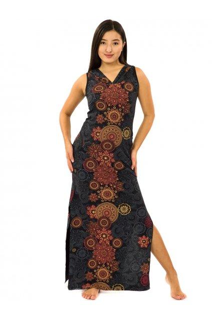 Dlouhé šaty s kapucí Sharma - černá s oranžovou