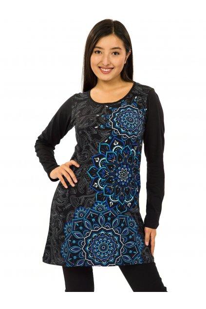 Šaty s dlouhým rukávem Taika - černá s modrou