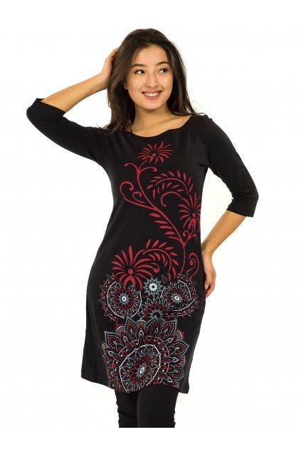 Šaty s 3/4 rukávem Krisha - černá s červenou
