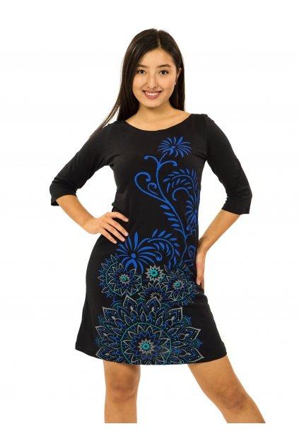 Šaty s 3/4 rukávem Krisha - černá s tyrkysovou