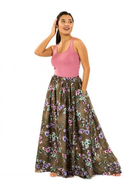 Maxi sukně s kapsami Soha - hnědá
