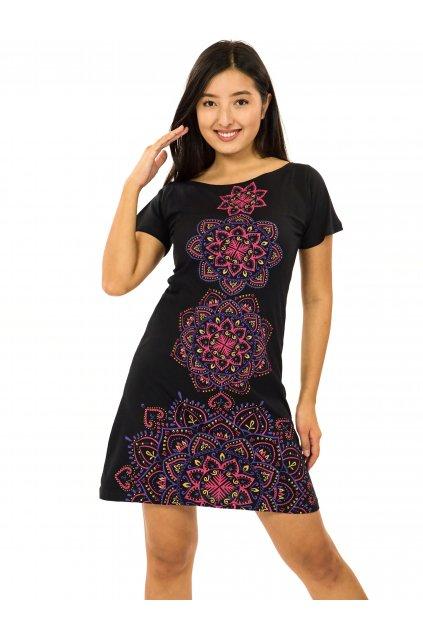 Šaty s krátkým rukávem Amavi - černá s růžovou