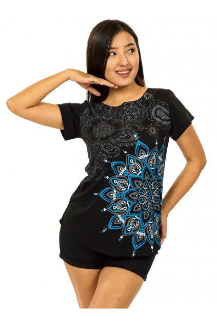 Tričko s krátkým rukávem Zafira - černá s šedou a modrou